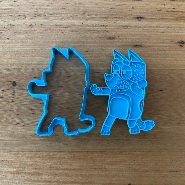 "Bluey's Dad ""Bandit"" 2 piece Cookie Cutter and Fondant Stamp measures approx. 100mm tall by 75mm wide. Bluey, Bingo and Mum are also available - see our other listings!  Also, don't miss our other Kids themed cookie cutters, search for ""Kids"" in our search bar."