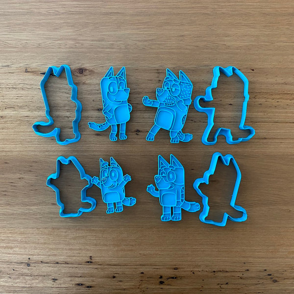Bluey, Bingo, Mum & Dad 2 piece Cookie Cutter and Fondant Stamp measures approx. 94mm tall by 70mm wide. Bingo, Mum & Dad are also available - see our other listing!  Also, don't miss our other Kids themed cookie cutters, search for