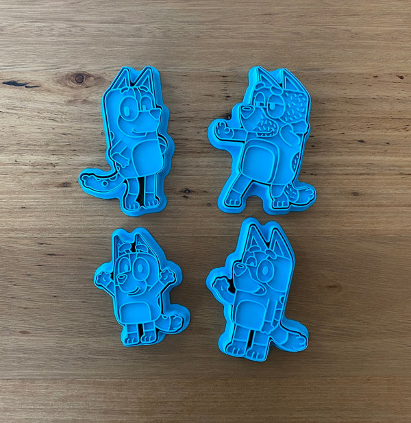 "Bluey's Mum ""Chilli"" 2 piece Cookie Cutter and Fondant Stamp measures approx. 100mm tall by 65mm wide. Bluey, Bingo and Dad are also available - see our other listings!  Also, don't miss our other Kids themed cookie cutters, search for"