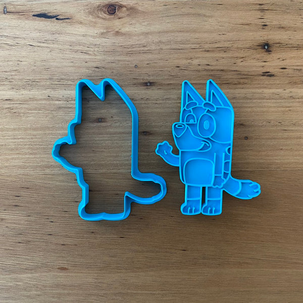 "Bluey 2 piece Cookie Cutter and Fondant Stamp measures approx. 94mm tall by 70mm wide. Bingo, Mum & Dad are also available - see our other listing!  Also, don't miss our other Kids themed cookie cutters, search for ""Kids"" in our search bar."