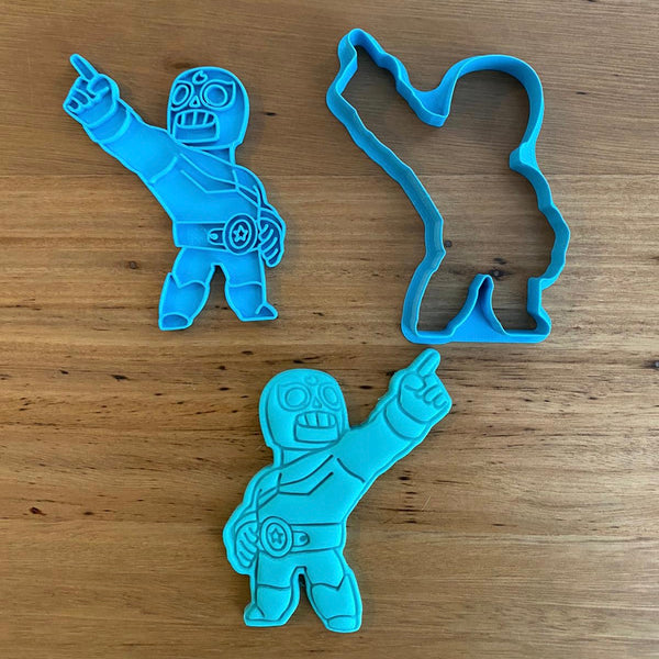 "Brawls - El Primo Cookie Cutter and optional Stamp measures approx. 90mm tall.  Also, don't miss our other Brawls or Kids themed cookie cutters, search for ""Kids"" or ""Brawls"" in our search bar."