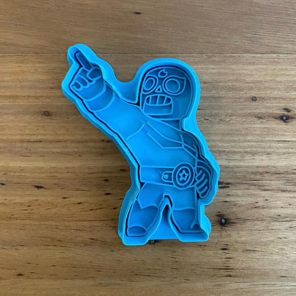 Brawls - El Primo Cookie Cutter and optional Stamp measures approx. 90mm tall.  Also, don't miss our other Brawls or Kids themed cookie cutters, search for