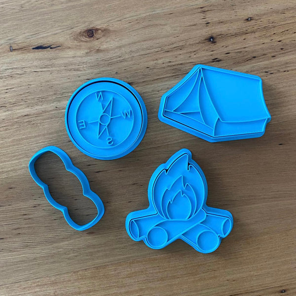 Tent Compass Marshmallow Campfire Cookie Cutter and Stamp