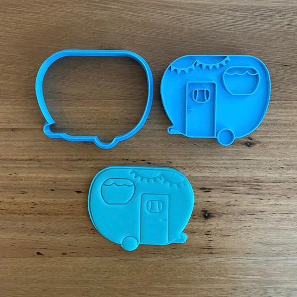 "Caravan - Cookie Cutter and optional Fondant Stamp measures approx. 80mm tall by 80mm wide.  Don't miss our other Transport items by searching ""Transport"" in the search bar."