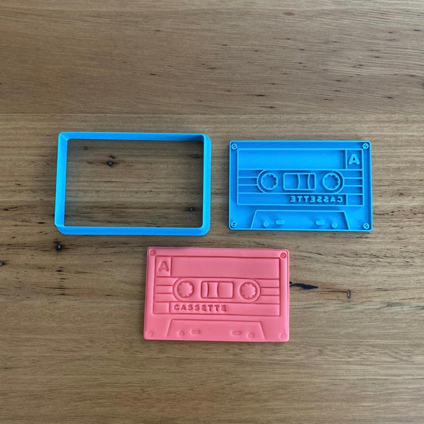 Cassette Tape Cookie Cutter and Optional Stamp