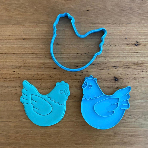 Chicken Cookie Cutter and Optional Stamp measures approx. 80mm tall by 80mm wide.  Check out our other farmyard animal - search