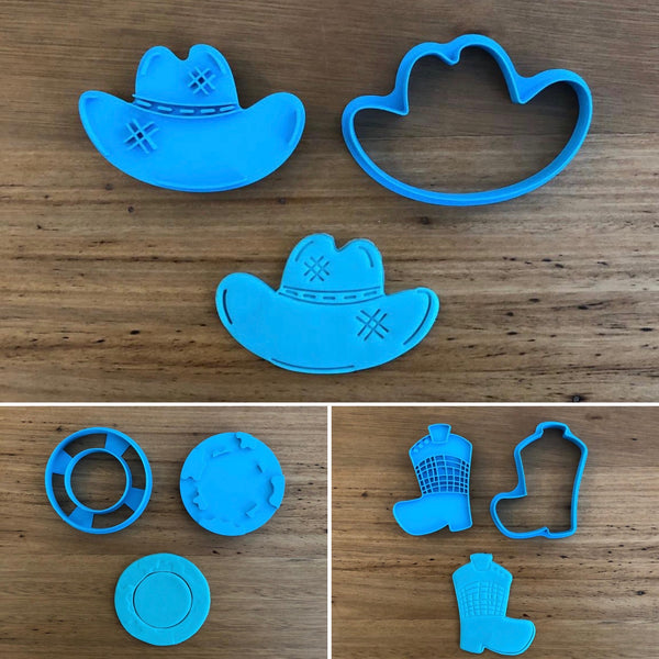 Cow Boy Hat cutter & optional stamp measures approx. 80mm wide  Cow Boy hat and Cow Boy Ring with Cow pattern is also available  Please see our other Cowboy themed items and our other Clothing themed cookie cutters, search for