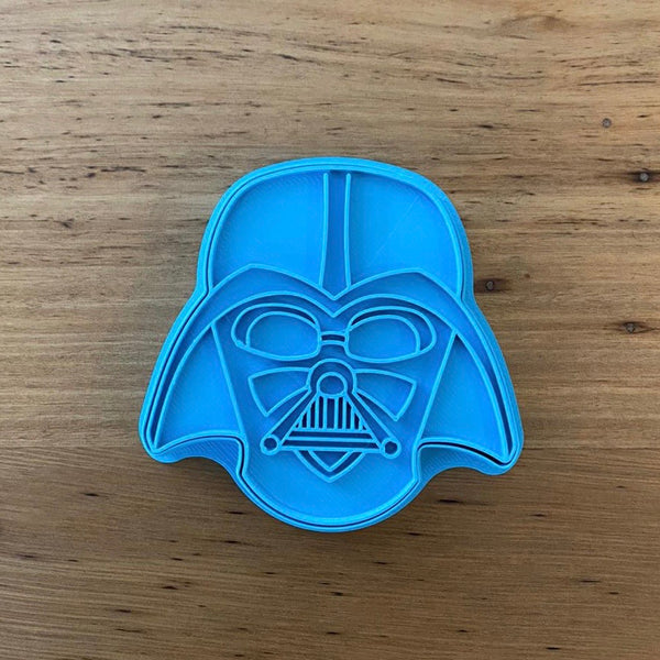 Darth Vader Star Wars Cookie Cutter and optional Stamp measures approx. 80mm tall.  This product comes as an outline cutter or with the option of choosing the fondant stamp embosser.  Don't miss our other Star Wars and Space themed cookie cutters, search for