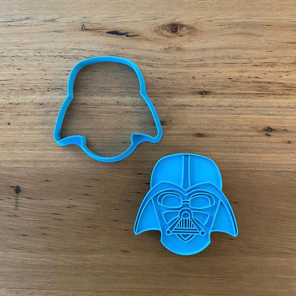 "Darth Vader Star Wars Cookie Cutter and optional Stamp measures approx. 80mm tall.  This product comes as an outline cutter or with the option of choosing the fondant stamp embosser.  Don't miss our other Star Wars and Space themed cookie cutters, search for ""Space"" in our search bar"
