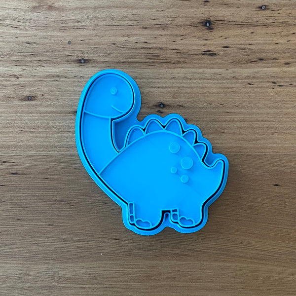 Diplodocus Dinosaur style #2 - Cookie Cutter and optional Fondant Stamp measures approx. 100mm tall by 90mm wide.  PYO set by @cookies_by_amelia  Don't miss our other Dinosaur styles by searching