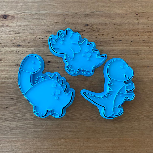 Diplodocus Dinosaur style #2 Stegosaurus, Tyrannosaurus - Cookie Cutter and optional Fondant Stamp measures approx. 100mm tall by 90mm wide.  PYO set by @cookies_by_amelia  Don't miss our other Dinosaur styles by searching