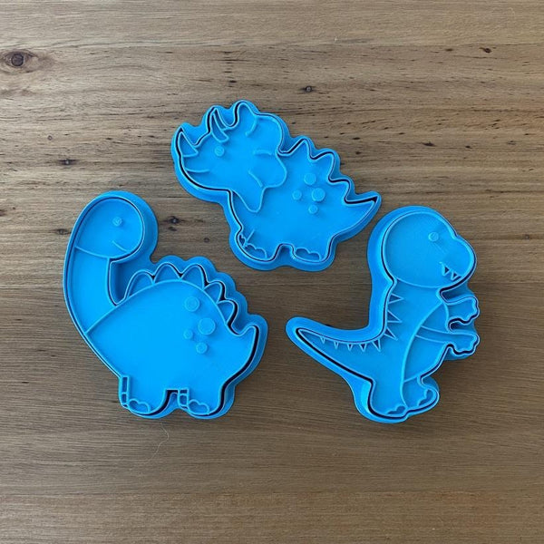 Stegosaurus, Tyrannosaurus, Diplodocus Dinosaur style #1 - Cookie Cutter and optional Fondant Stamp measures approx. 100mm tall by 75mm wide.  PYO set by @cookies_by_amelia  Don't miss our other Dinosaur styles by searching