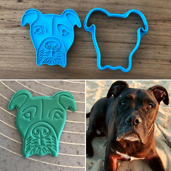 Custom Cutter and matching Custom Stamp for a dog cat animal face Choose any cutter shape and stamp design to suit your occasions. Perfect for Valentine's Day, Weddings, Anniversaries or any special occasion. These items come as a set that fit together for easy and accurate stamping.