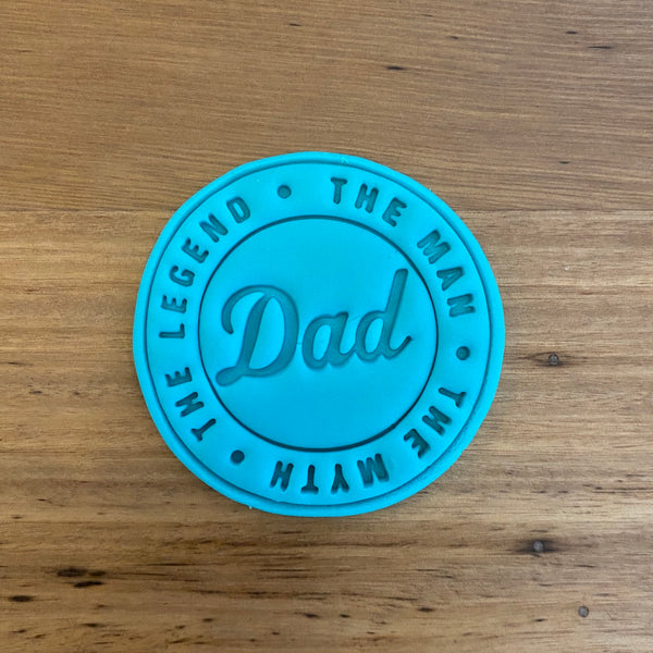 Happy Father's Day Emboss Stamp style #1 for 70mm Cookies  We have a range of Father's Day Emboss stamps. Perfect for any Dad, Father, Grandfather, why not pair these up with some of our other 'Dad' items!