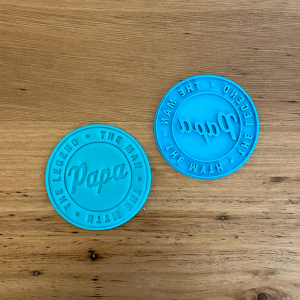 Happy Father's Day Papa Emboss Stamp style #3 for 70mm Cookies  We have a range of Father's Day Emboss stamps. Perfect for any Dad, Father, Grandfather, why not pair these up with some of our other 'Dad' items!