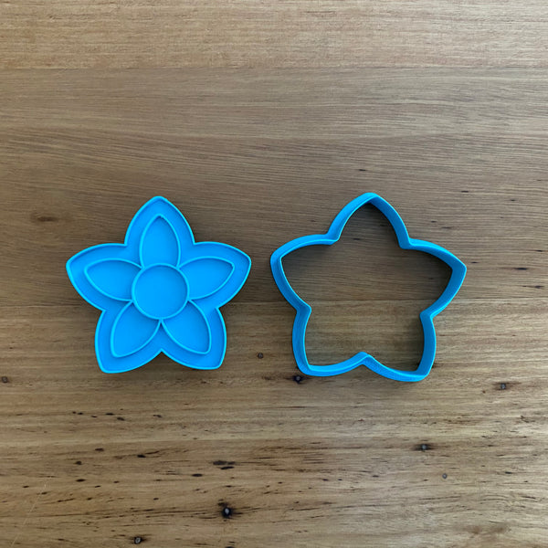 Frangipani Flower Cookie Cutter and optional Fondant Stamp
