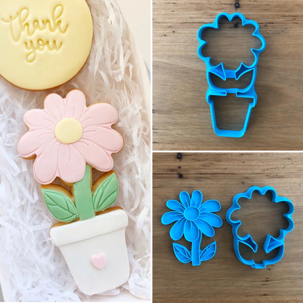 Flower & Pot Cookie Cutter and optional Fondant Cutter & Stamp  You have 3 options:  1) The outline cutter of the flower in the pot designed for cutting Cookies,  2) The flower cutter with the stamp designed for cutting Fondant to suit the flower and pot in 1) above,  3) All 3,