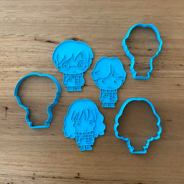 Harry Potter Ron Weasley Hermione Granger Cookie Cutter & Stamp Sets - Buy individually or as a set. Measurements below (ww) mm x (h) mm  Harry Potter: 100 x 80 at widest part   Ron Weasley: 100 x 70 at widest part   Hermione Granger: 100 x 85 at widest part