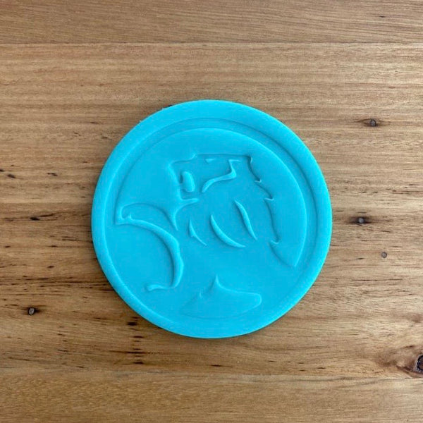 Holden logo 2 piece Cookie Cutter and Fondant Stamp set measures approx. 60mm tall by 105mm wide. We also have other car badges available - see our other listing!