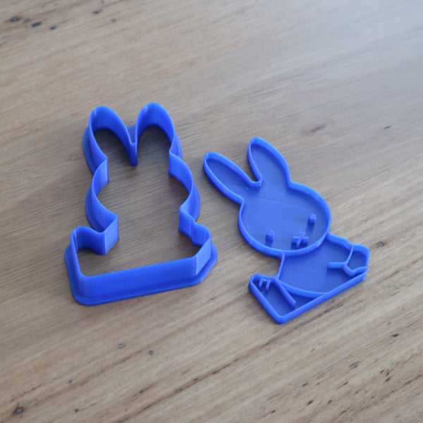 Miffy Cookie Cutter and optional Stamp measures approx. 90mm tall by 54mm wide (widest part).  You can choose just the outline cookie cutter or add the stamp for fondant or royal icing decoration.