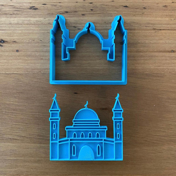 "Mosque Cookie Cutter & Emboss Stamp Style #1  Choose from 2 styles for Mosque designs with Cutter and Stamp Sets. This style measures 72mm wide x 64mm high measured at tallest and widest parts  Excellent robust Quality with a neat cutting edge. We target next day delivery. Custom designs are possible if you want a different size, or design. Just send an enquiry, or see our custom cookie cutter product, found under the ""Custom Items"" menu."