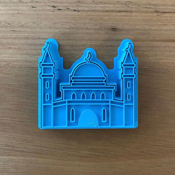 Mosque Cookie Cutter & Emboss Stamp Style #2  Choose from 2 styles for Mosque designs with Cutter and Stamp Sets. This style measures 85mm wide x 70mm high measured at tallest and widest parts