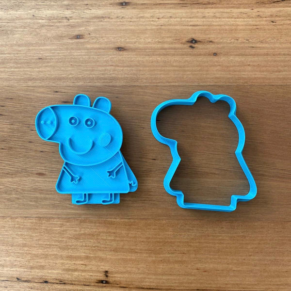 "Peppa Pig Cookie Cutter and optional Stamp measures approx. 80mm tall wide.  You can choose just the outline cookie cutter or add the stamp for fondant or royal icing decoration. Why not bundle this item with George and  get a discount?  Decorated Cookie Pics thanks @oh_em_gee_cakes  Also, don't miss our other Kids themed cookie cutters, search for ""Kids"" in our search bar."