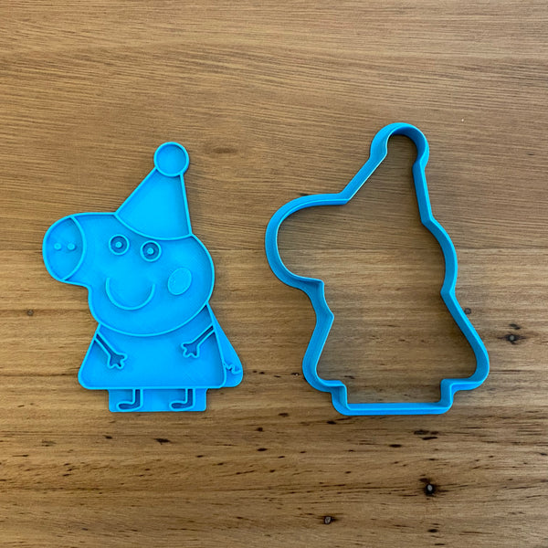 "Peppa Pig with hat Cookie Cutter and optional Stamp measures approx. 80mm tall by 70xmm wide.  You can choose just the outline cookie cutter or add the stamp for fondant or royal icing decoration.  Also, don't miss our other Kids themed cookie cutters, search for ""Kids"" in our search bar."