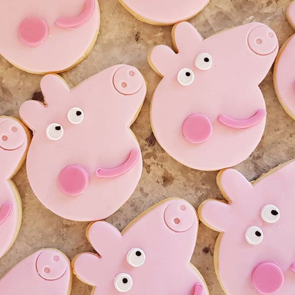 Peppa Pig and Muddy Puddle Fondant Cutter Set. Head measures approx. 76mm tall by 80mm wide.  This set includes all the cutters needed to make a Peppa fondant shape for your cake or cookie; head, body, arms, legs, boots, tail, eyes, mouth and cheek! We also include mating pieces to extract fondant from the small cutters. Enjoy!