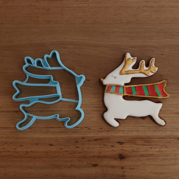 Our Reindeer with a scarf Cookie Cutter is perfect for making your festive cookie sets. 2 Reindeer options and many more styles, just search Christmas in store to see our full range!