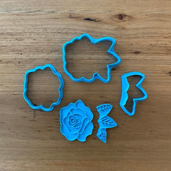 Rose and Leaves Cookie Cutter, Fondant Cutter & Stamp Set