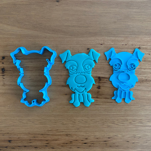 Schnauzer 2 piece Cookie Cutter and Fondant Stamp measures approx. 100mm tall  Our cutter and stamp set is perfect my making cute little Schnauzers! Woof Woof!