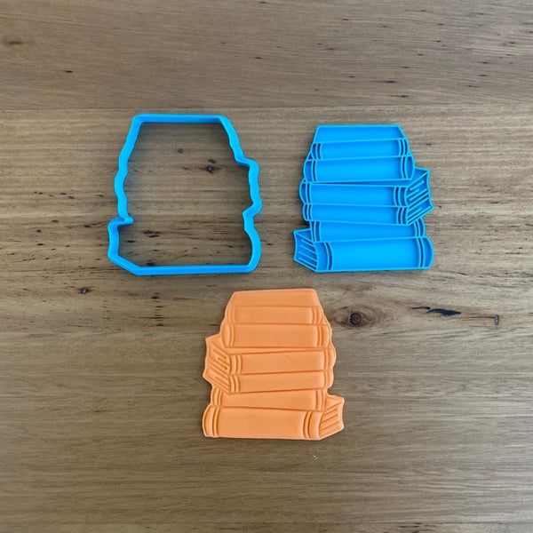 School Books Cookie Cutter & Optional Emboss Stamp