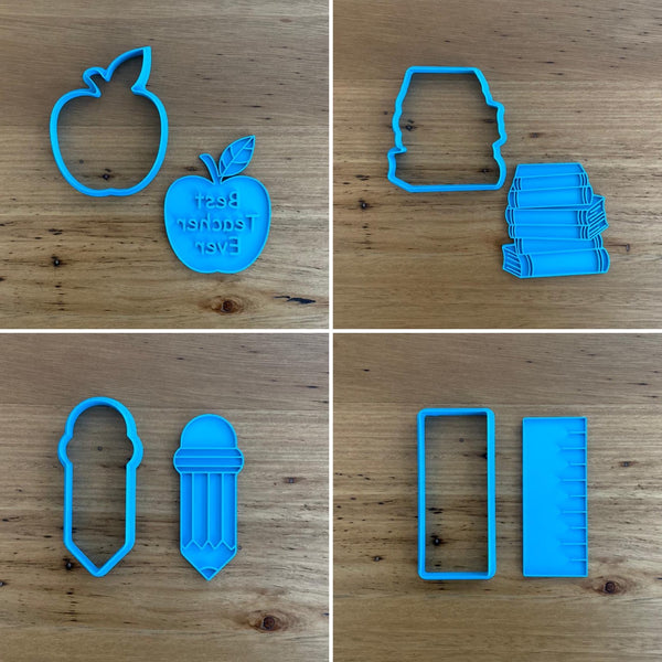 School Pencil Cookie Cutter & Optional Emboss Stamp measures approx. 90mm tall.