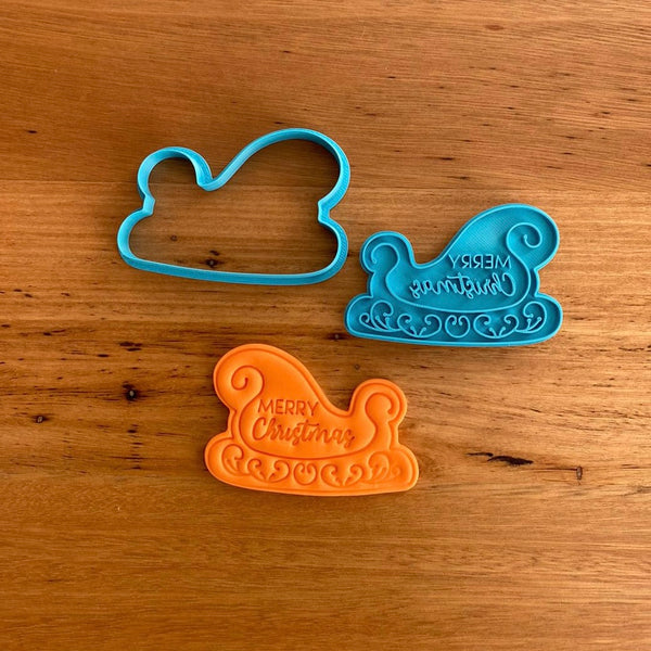 Santa Sleigh for Christmas Cookie Cutter & Stamp