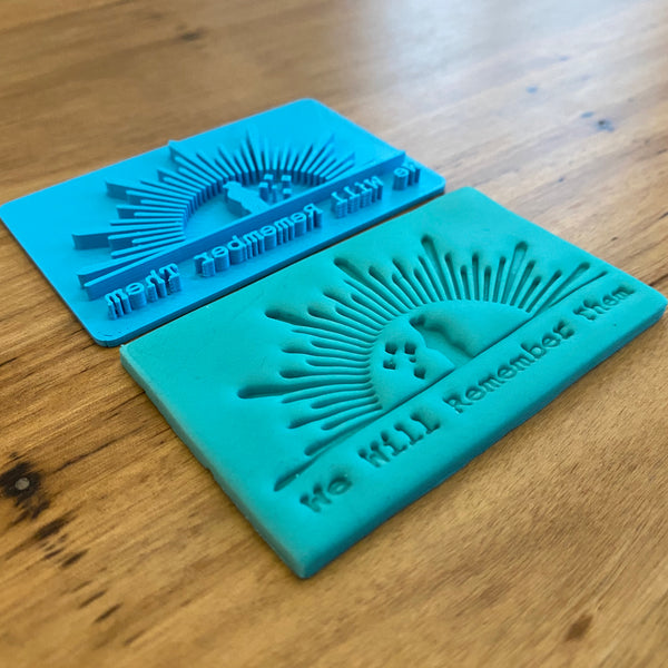 ANZAC Day Cutter & Emboss Stamp. Perfect for ANZAC themed cookies, measures 80mm x 50mm  Each stamp comes with a handle on the top to help with application and removal of the stamp. This significantly improves the quality of your finished cookie.