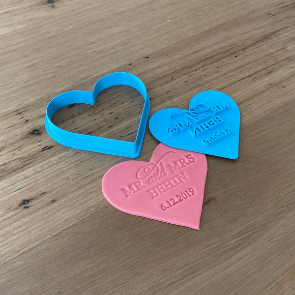 Custom Cutter and matching Custom Stamp  Choose any cutter shape and stamp design to suit your occasions. Perfect for Valentine's Day, Weddings, Anniversaries or any special occasion. These items come as a set that fit together for easy and accurate stamping.