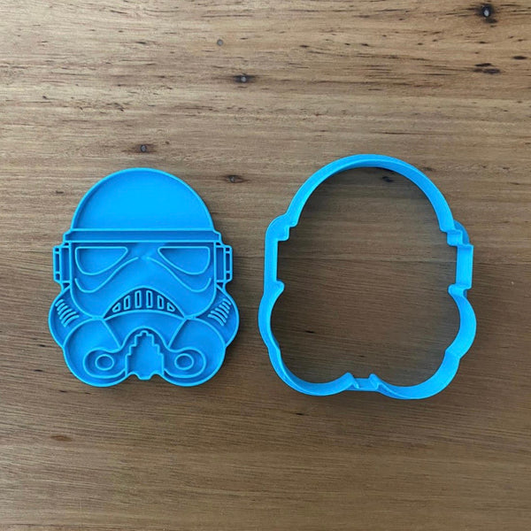 "Storm Trooper Star Wars Cookie Cutter and optional Stamp measures approx. 80mm tall.  This product comes as an outline cutter or with the option of choosing the fondant stamp embosser.  Don't miss our other Star Wars and Space themed cookie cutters, search for ""Space"" in our search bar"