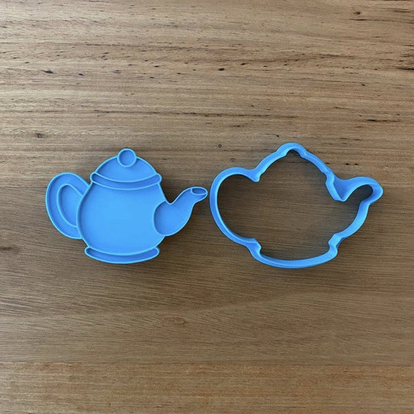 "Tea Pot Cookie Cutter and Optional Stamp measures approx. 63mm tall by 90mm wide  Be sure to see our tea cup and takeaway coffee cup and other Home items by searching ""Home"" in the search bar."