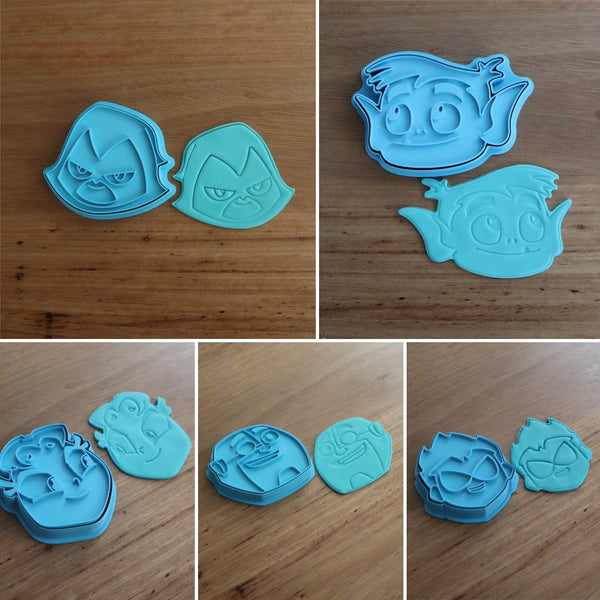 Teen Titans Raven Robin Cyborg Beast Boy Starfire Cookie Cutter and Fondant Stamp measures approx. 75mm tall. The other Teen Titan Characters are also available in store.  Also, don't miss our other Kids themed cookie cutters, search for
