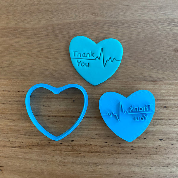 Thank You with Heart Beat Cutter & Emboss Stamp measures 65mm (w) x 60mm (h)  Perfect for thanking those in essential health services!