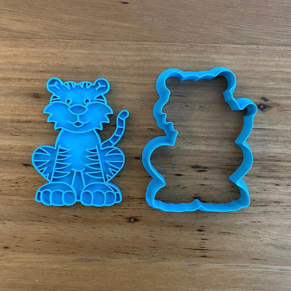 "Tiger Cookie Cutter & Optional Stamp measures approx 70mm tall and 55mm wide at the widest part  See our complete Animal range by searching ""Animals"", or ""Safari"" in our search area. Don't see what you want, no problem, just ask and we can add it!"