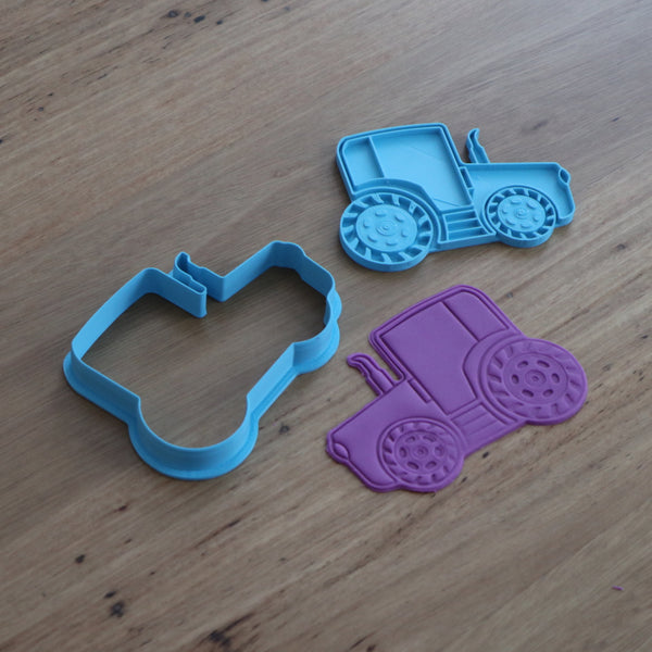 Tractor Cookie Cutter and optional Stamp measures approx. 73mm tall by 100mm wide.  You can choose just the outline cookie cutter or add the stamp for fondant or royal icing decoration.  Also, don't miss our other vehicle themed cookie cutters, search for