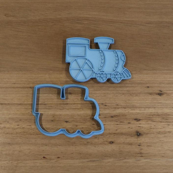 Train Cookie Cutter and optional Stamp measures approx. 65mm tall by 90mm wide.