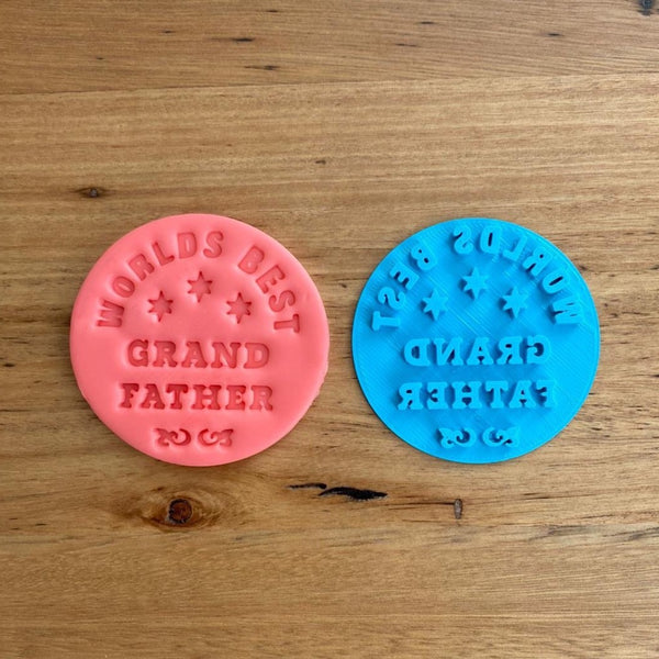 World's Best Grand Father Father's Day Cookie Emboss Stamp