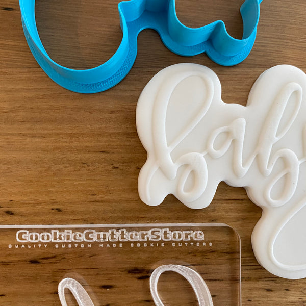 Baby Plaque Sign Cookie Cutter & Deboss Raised Effect Stamp