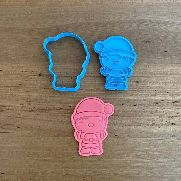 Boy Santa Christmas Cookie Cutter & Emboss Stamp