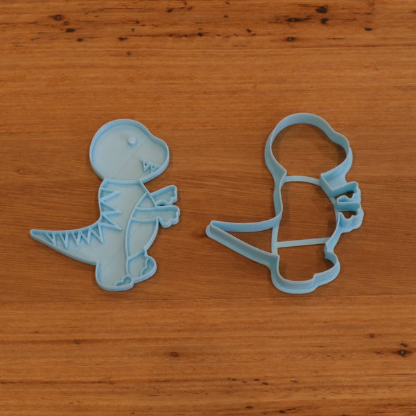 Tyrannosaurus Dinosaur style #3 - Cookie Cutter and optional Fondant Stamp measures approx. 100mm tall by 80mm wide.