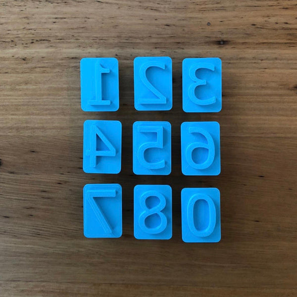 Set of Number Cookie Stamps 0-8. NOTE: #6 is the same as #9, so only 1 of them is included    Each number is 27mm tall and the widest is #4 at 20mm as a reference.