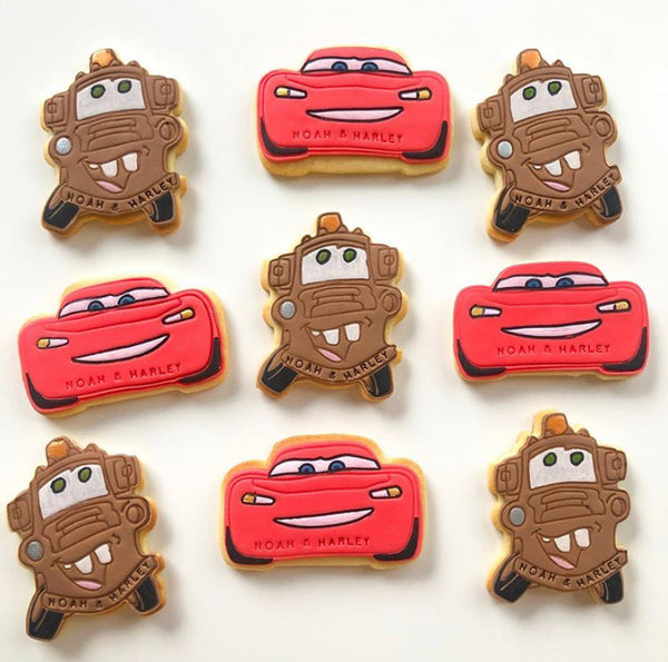 Lightning McQueen Cookie Cutter with optional Stamp details. 2 designs, measures approx:  1) side view style: 55mm x 100mm  2) face view style: 63mm x 100mm